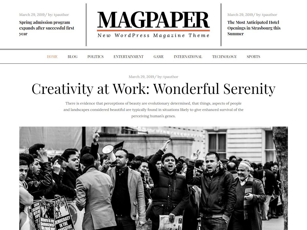 Magpaper WordPress magazine theme