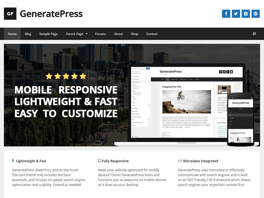 Pines-Otani (from GeneratePress) WordPress ecommerce template