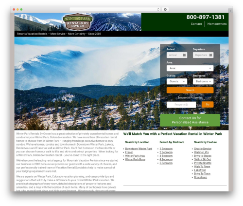 WP theme Resortia based on StreamlineCore SanDiego Theme Child (E) - winterparkrentals.com