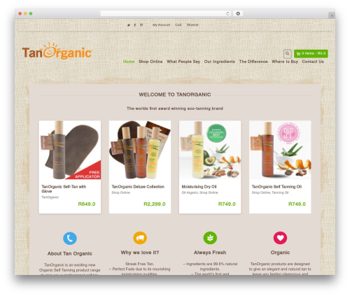 Template WordPress Organic Web Shop - tanorganic.co.za