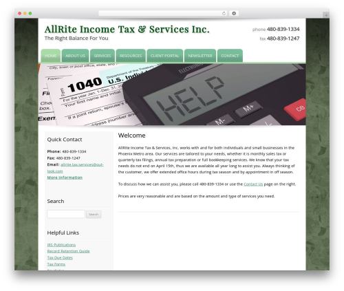 Customized WordPress theme - allriteincometax.com