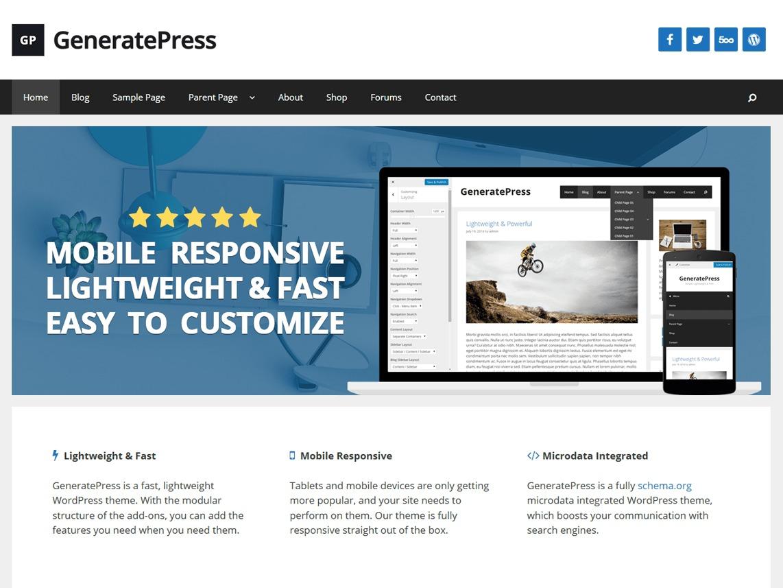 GeneratePress WordPress shop theme