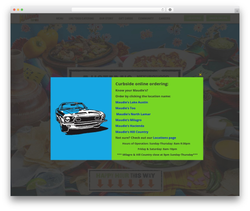 Workhorse Digital Boilerplate best restaurant WordPress theme - maudies.com