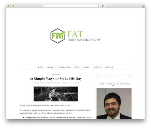 30 Day Blog Challenge WordPress blog theme - fatbrokeandchangingit.com