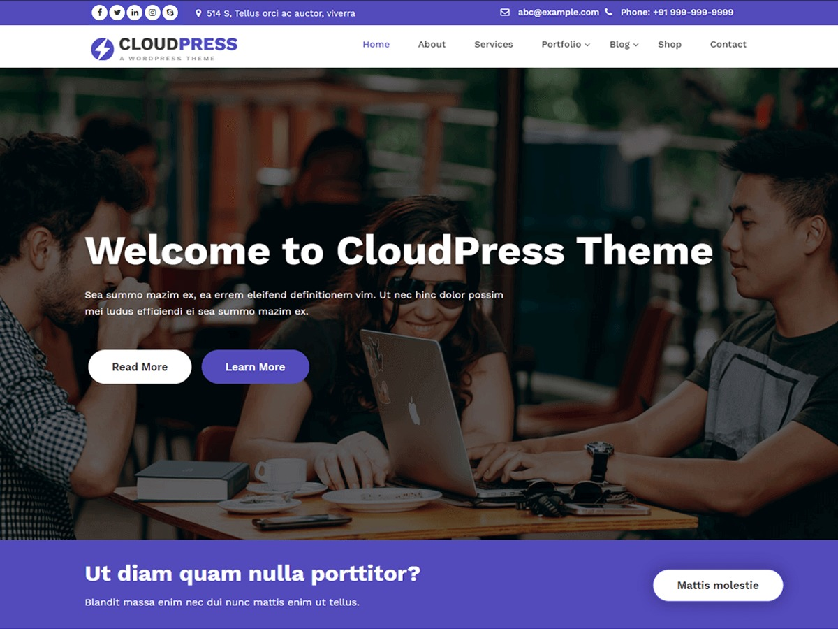 CloudPress free website theme