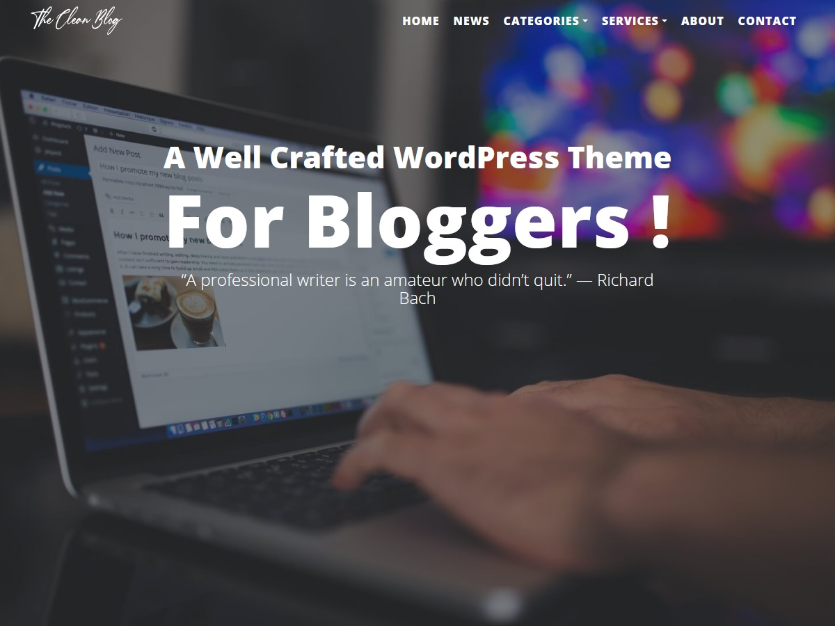The Clean Blog WordPress blog theme
