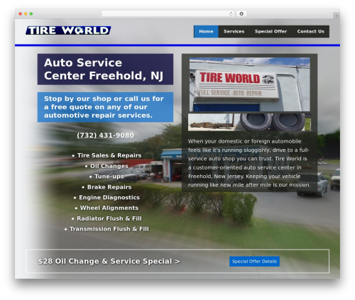 WordPress website template Canonical Child - tireworldauto.com