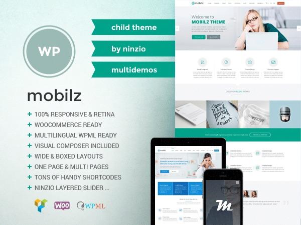 WordPress website template Mobilz Child