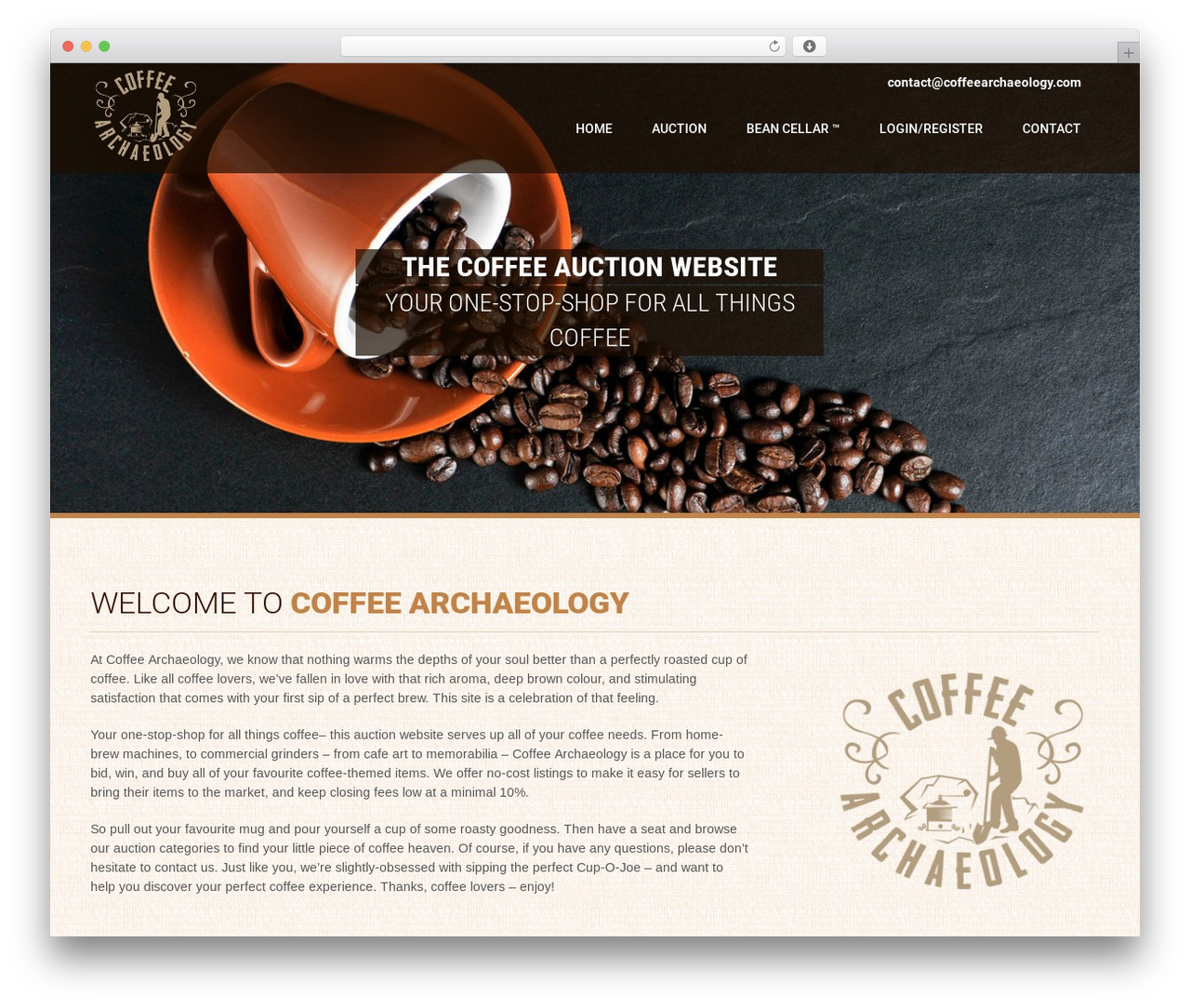 Coffee Pro top WordPress theme - coffeearchaeology.com