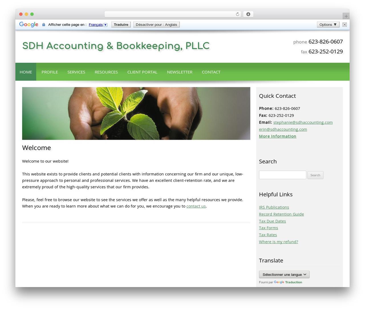Customized WordPress theme design - sdhaccounting.com