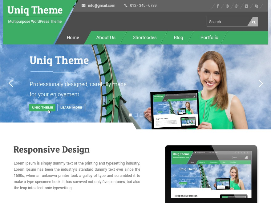 UniqPro WordPress template for business