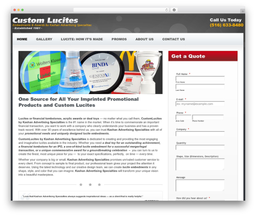 Candidate best WordPress template - customlucites.com