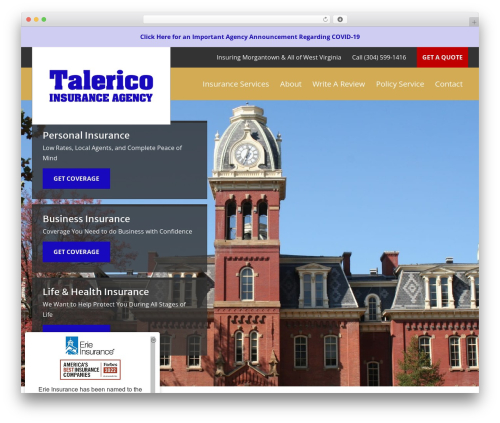 BrightFire Stellar company WordPress theme - talericoinsurance.com