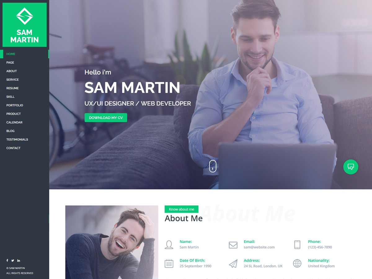 Sam Martin WordPress portfolio theme