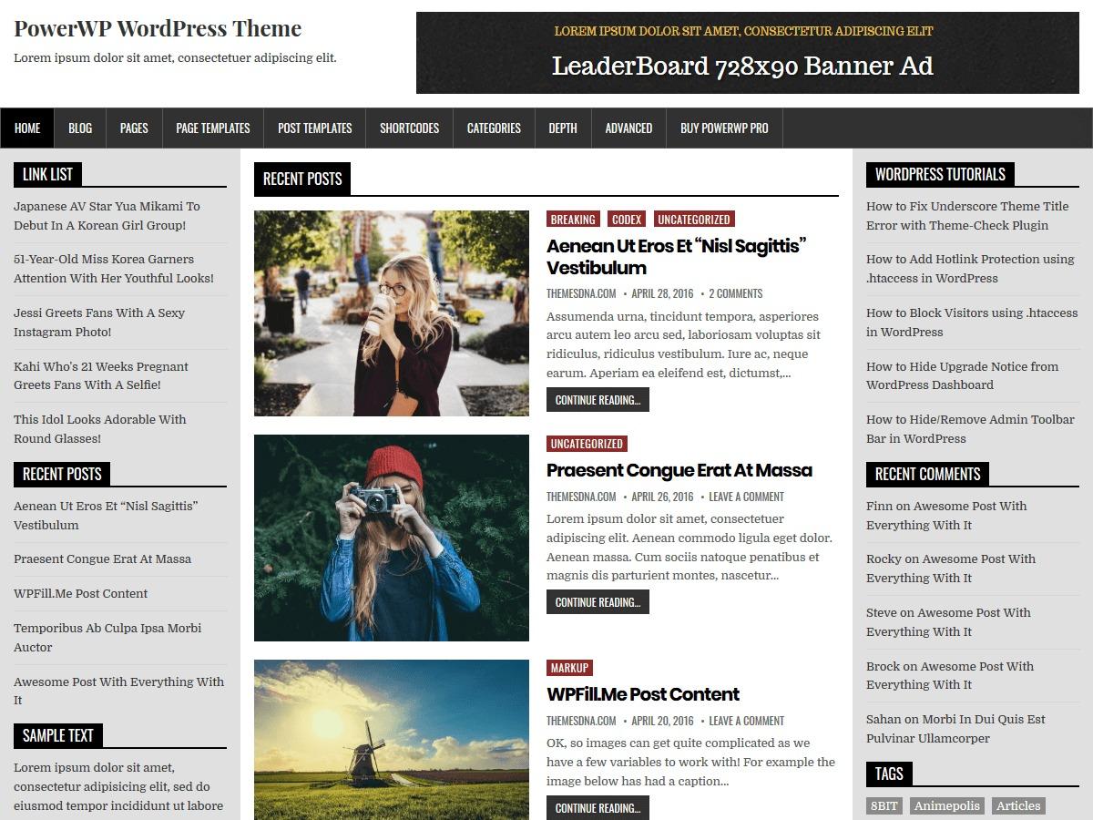 PowerWP WordPress blog template