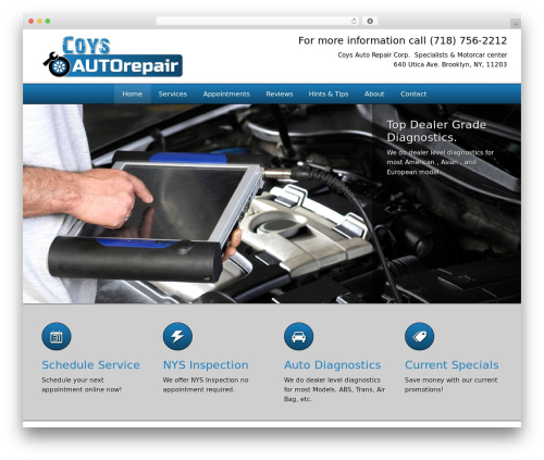 autorepair best WordPress template - coysautorepair.com