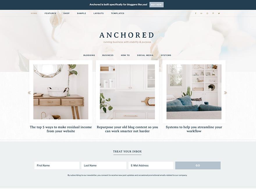 Anchored Theme WordPress ecommerce theme