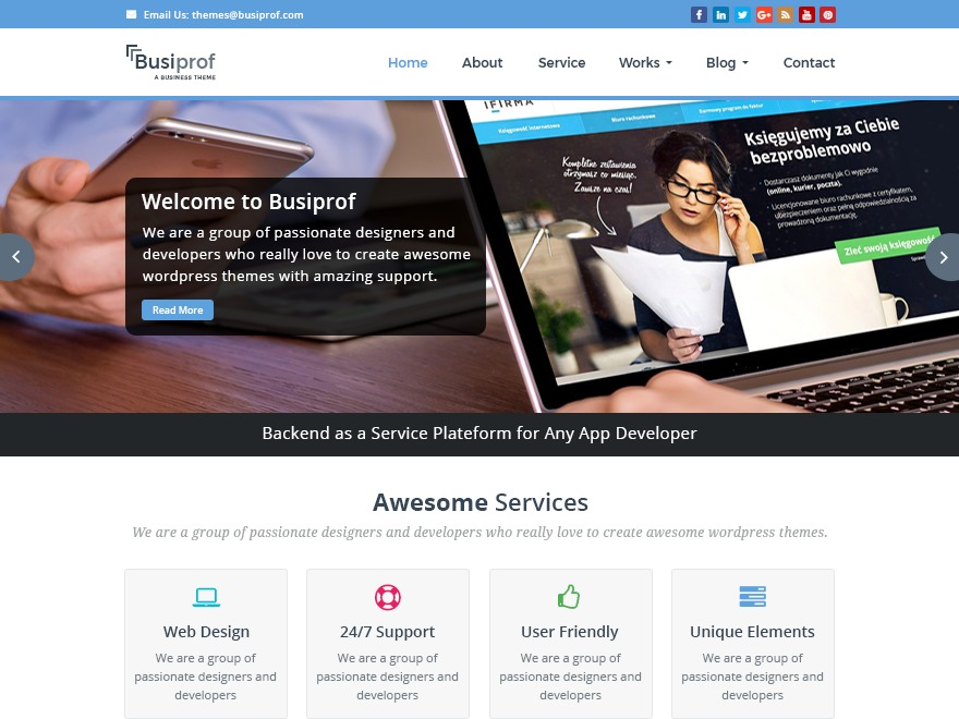 BusiProf Pro Child theme of busiprof-pro WordPress theme design