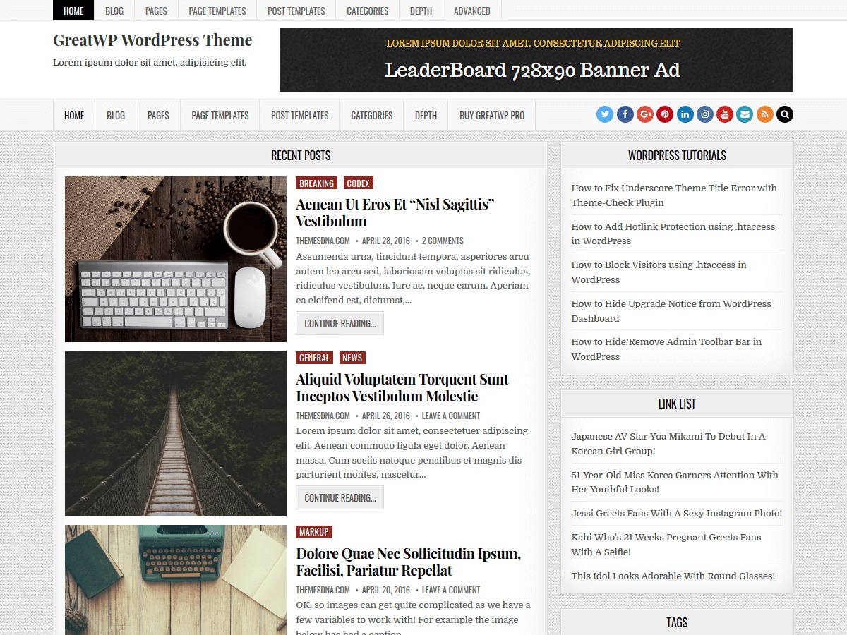 GreatWP WordPress blog template