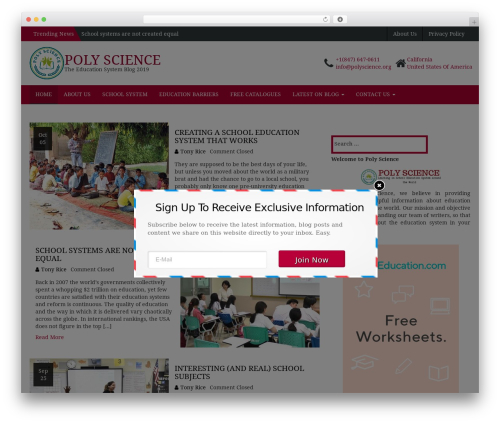 HB Education best WordPress theme - polyscience.org