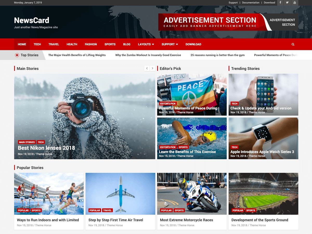 NewsCard WordPress travel theme