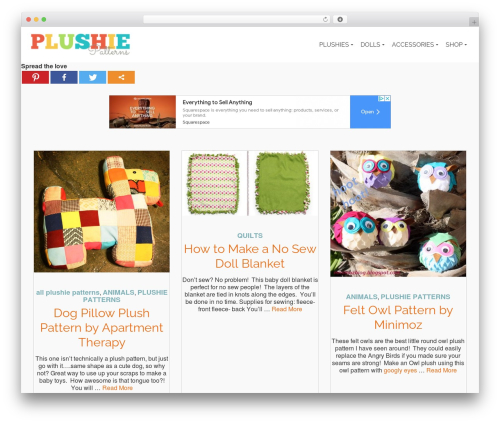 Pinnacle WordPress template free - plushiepatterns.com