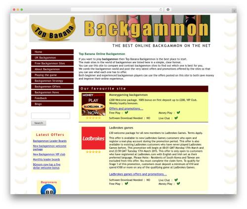 Theme WordPress TBB Theme One - topbananabackgammon.co.uk