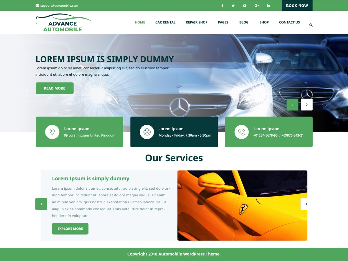 Advance Automobile WordPress template for business