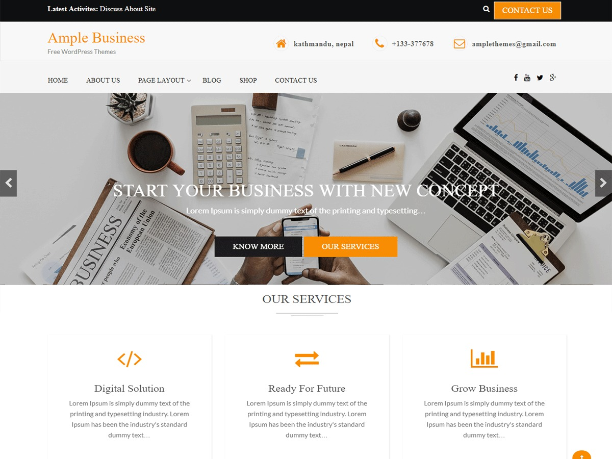 Ample Business WordPress ecommerce template