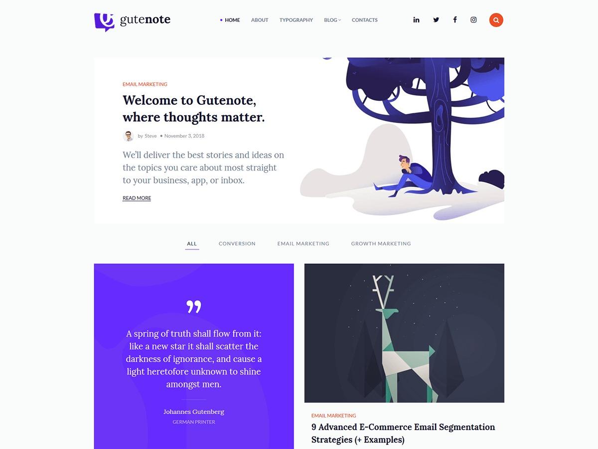 Gutenote theme WordPress