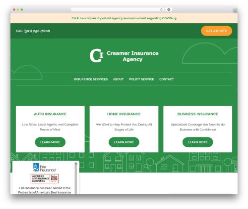 BrightFire Stellar business WordPress theme - creamerinsurance.com