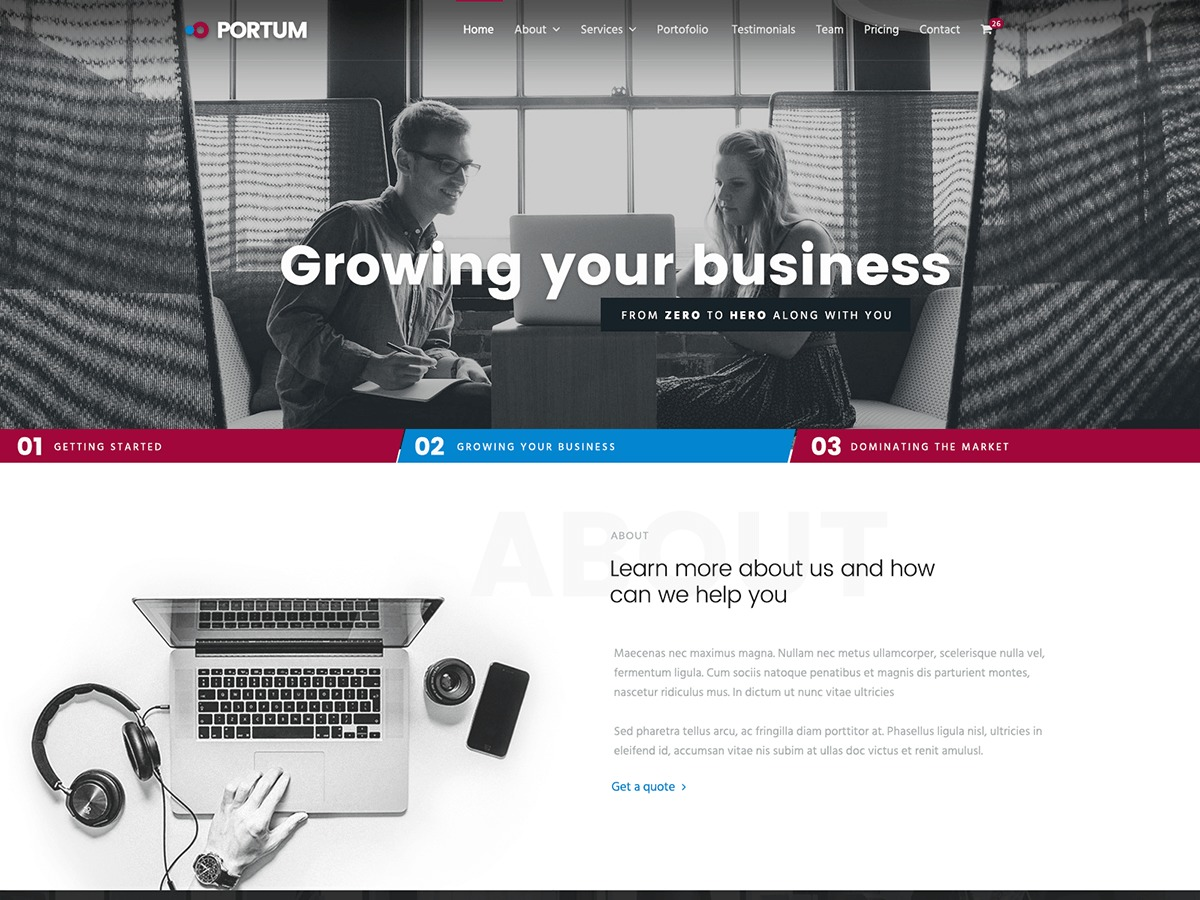 Portum WordPress website template