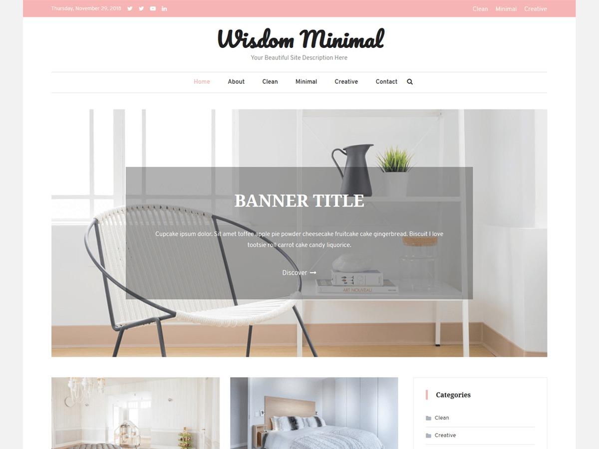 Wisdom Minimal WordPress blog theme