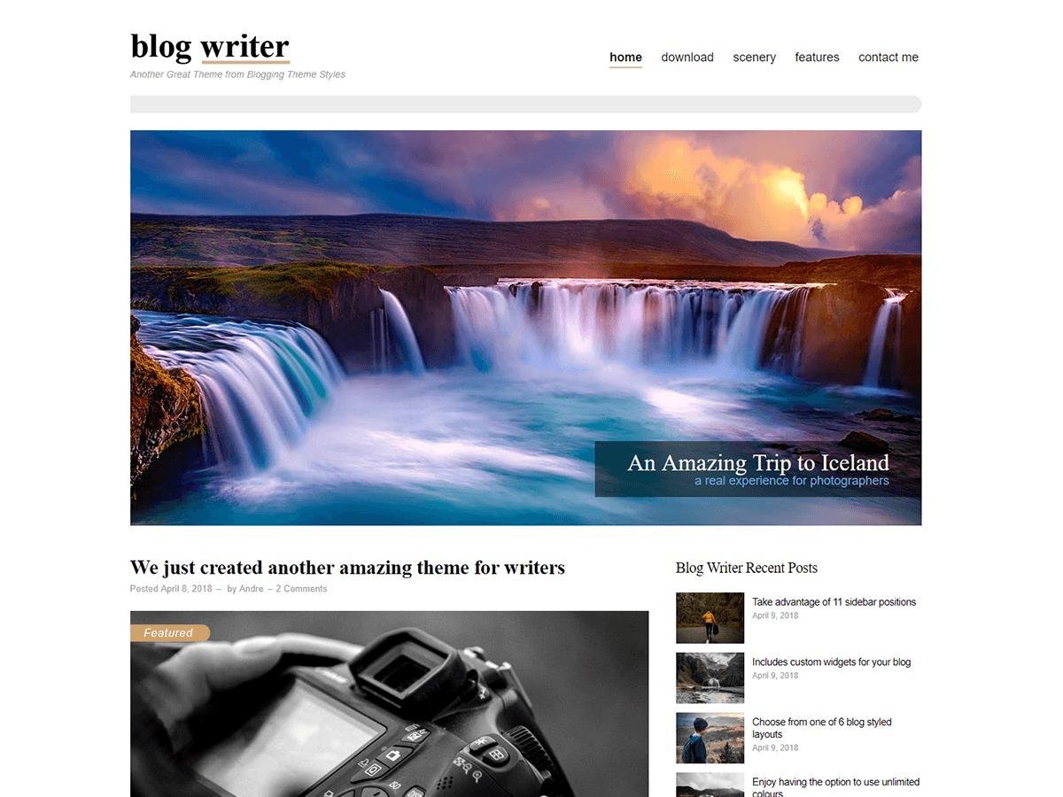 Blog Writer photography WordPress theme