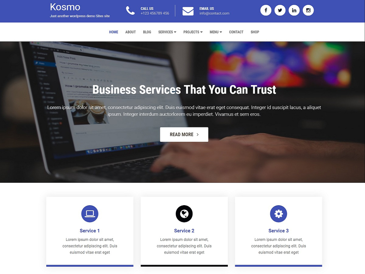 Kosmo business WordPress theme