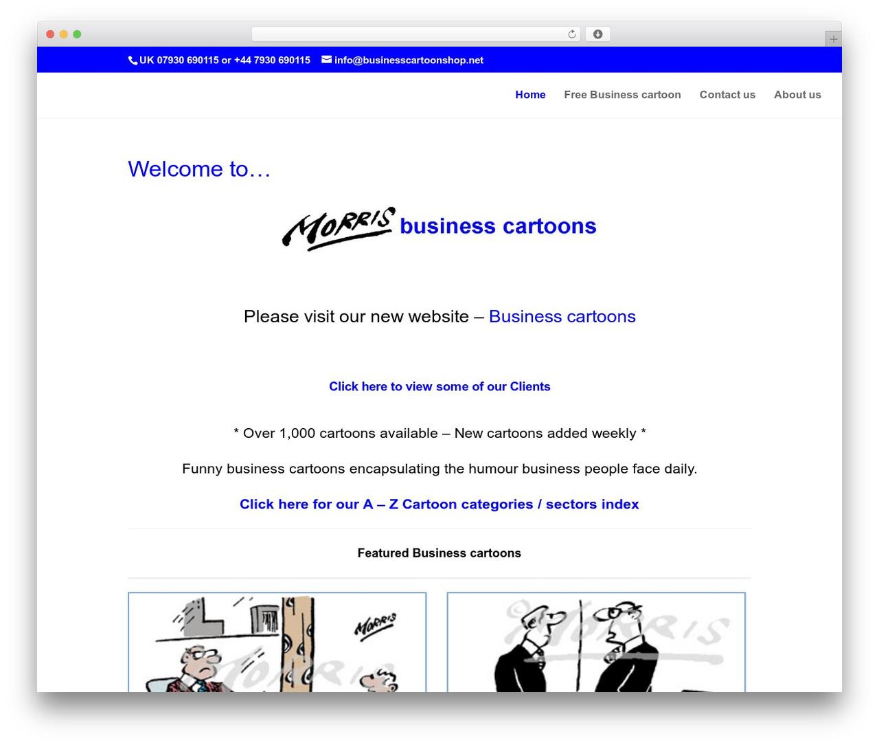 Divi template WordPress - businesscartoons.co.uk