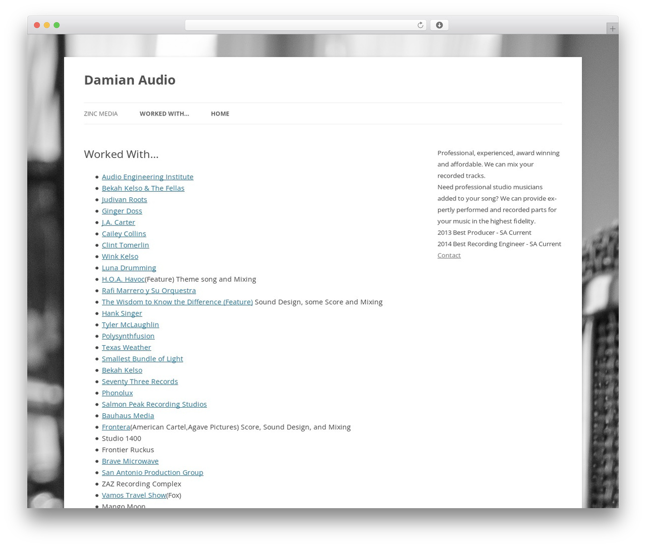 Twenty Twelve free WordPress theme - damianaudio.com