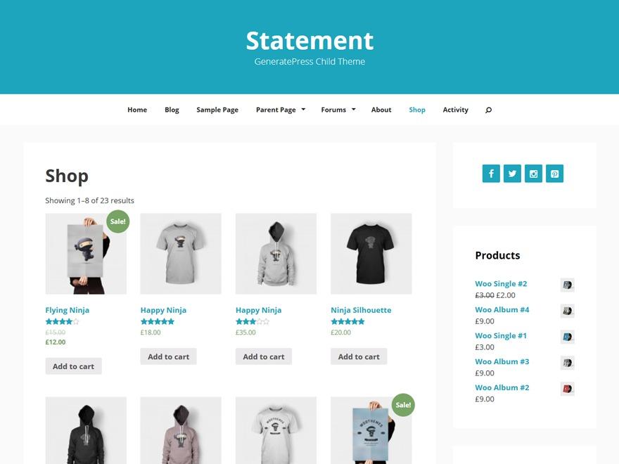Statment Child WordPress shop theme