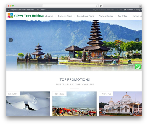 Love Travel top WordPress theme - vishwayatraholidays.com