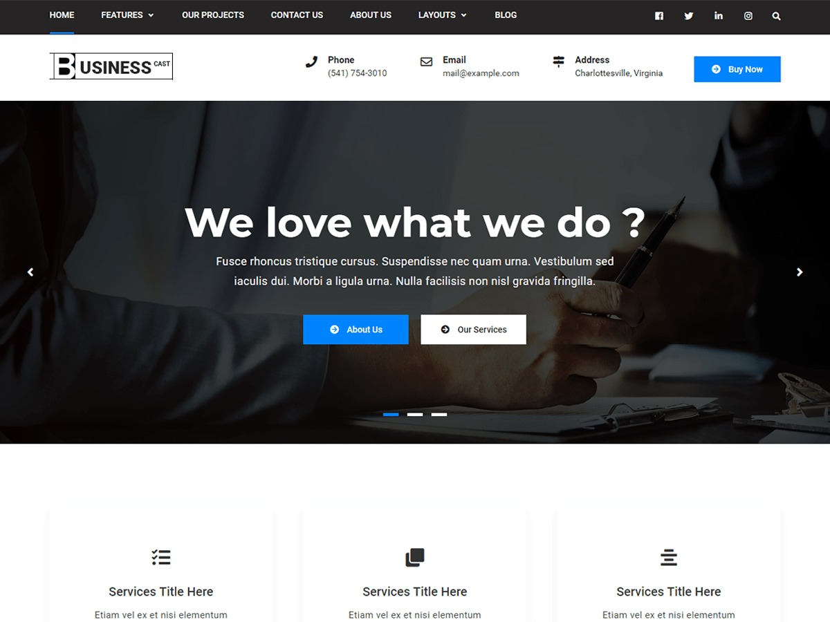 Business Cast WordPress shopping theme
