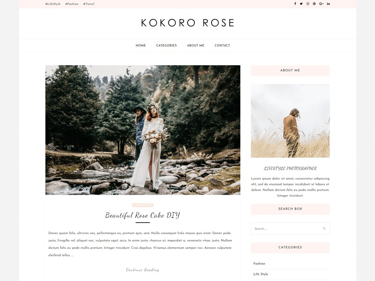 Kokoro Rose WordPress blog template