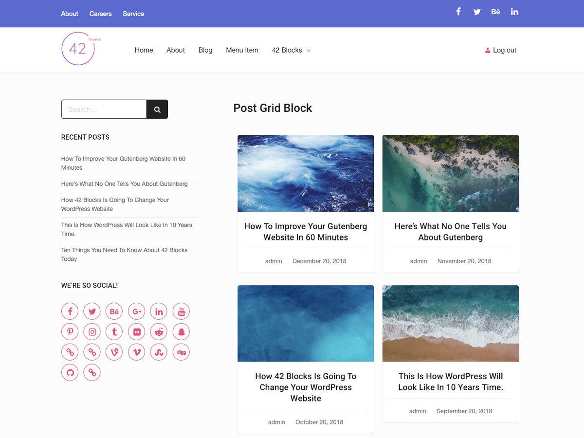Forty Two WordPress theme
