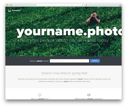 Uniregistry template WordPress - yourname.photo