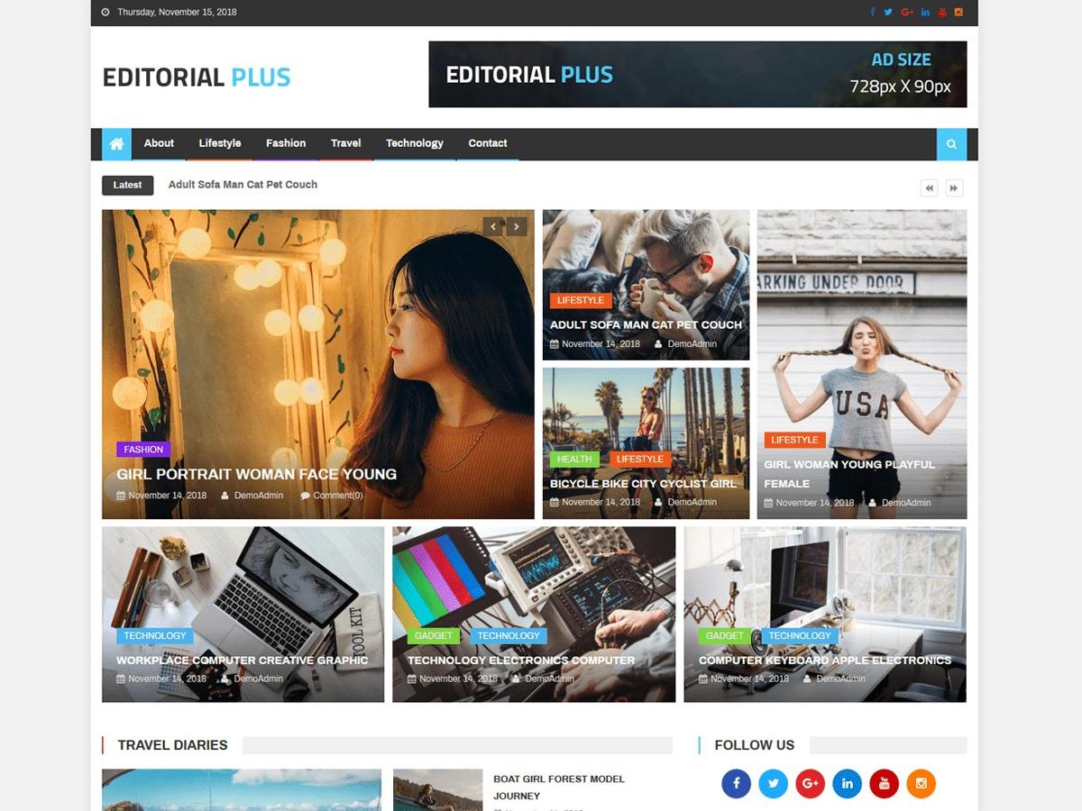 Editorial Plus WordPress news template