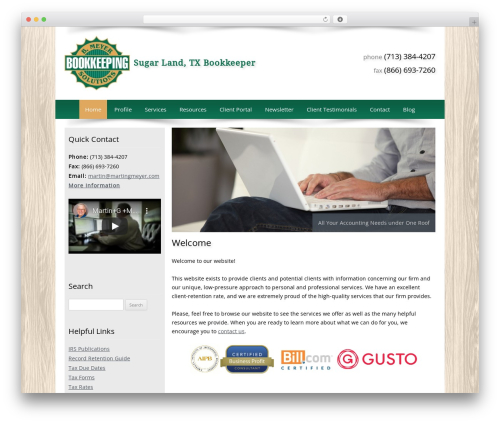 Customized business WordPress theme - bmeyerbookkeeping.com