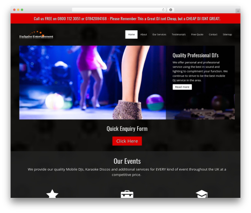 DJ best WordPress theme - djforyourparty.co.uk