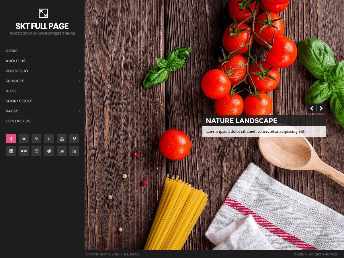 Full Page WordPress portfolio theme