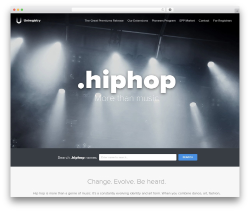 Uniregistry best WordPress template - nic.hiphop