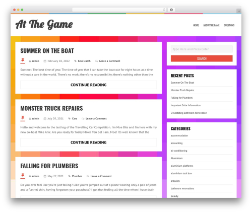 LiveBlog WordPress blog template - atthegame.com.au