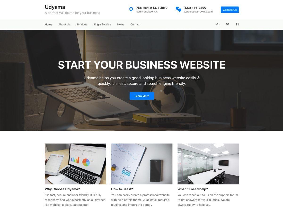 Udyama business WordPress theme